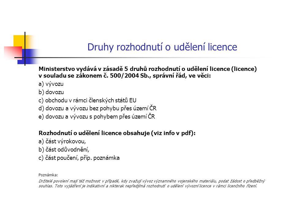 Druhy rozhodnutí o udělení licence Ministerstvo vydává v zásadě 5 druhů rozhodnutí o udělení licence (licence) v souladu se zákonem č. 500/2004 Sb., s
