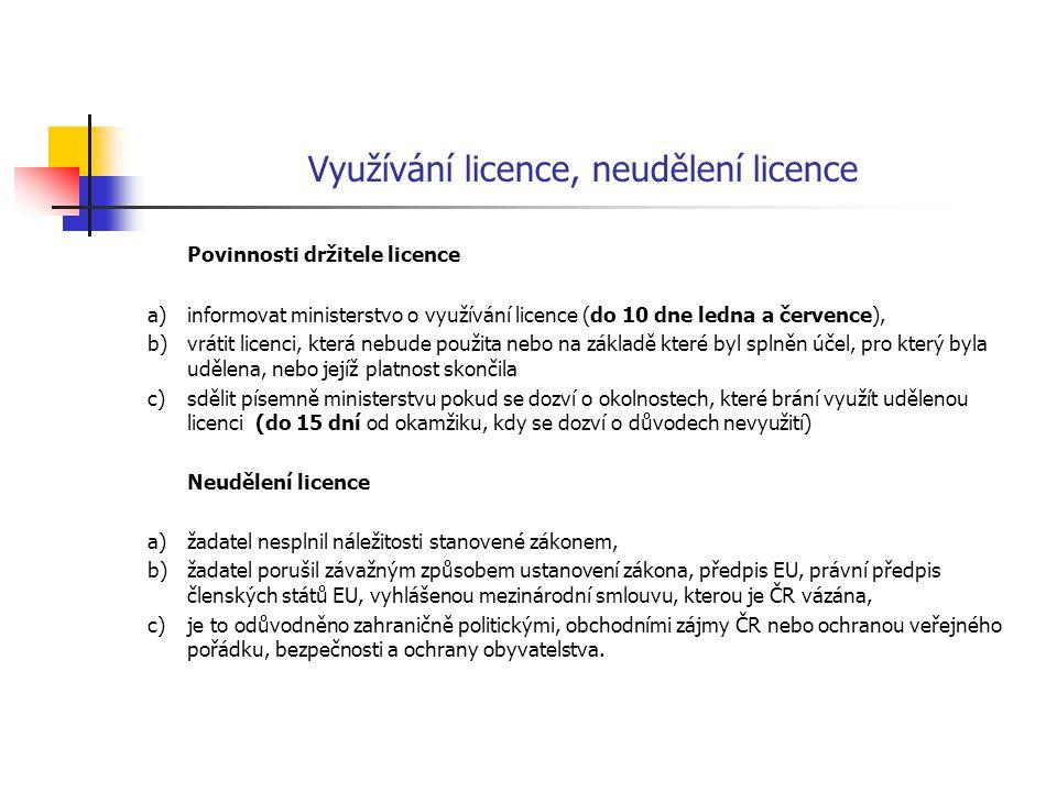 Využívání licence, neudělení licence Povinnosti držitele licence a)informovat ministerstvo o využívání licence (do 10 dne ledna a července), b)vrátit