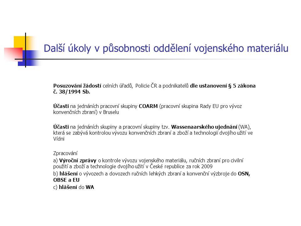 Další úkoly v působnosti oddělení vojenského materiálu Posuzování žádostí celních úřadů, Policie ČR a podnikatelů dle ustanovení § 5 zákona č. 38/1994