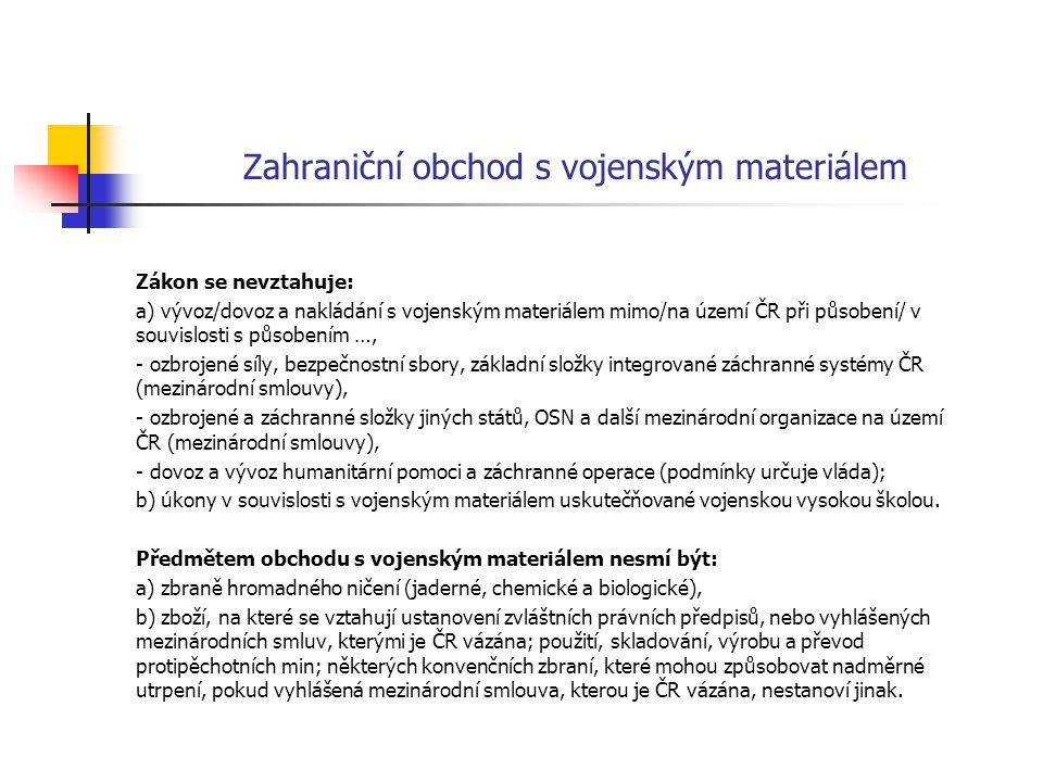 Zahraniční obchod s vojenským materiálem Zákon se nevztahuje: a) vývoz/dovoz a nakládání s vojenským materiálem mimo/na území ČR při působení/ v souvi