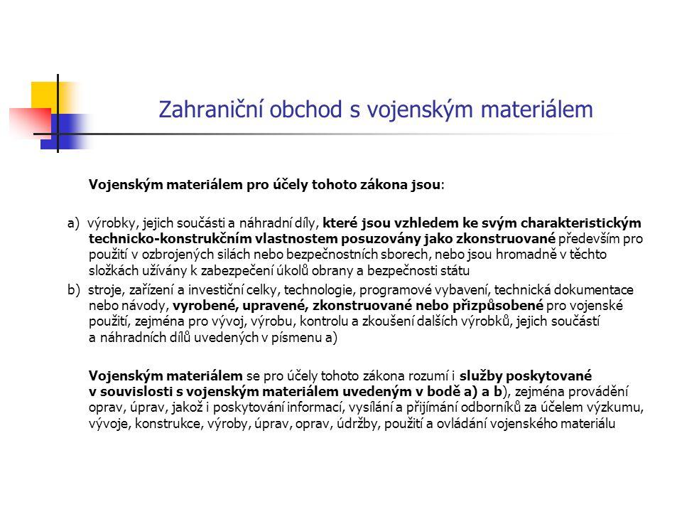 Povolování zahraničního obchodu s vojenským materiálem Obchod s vojenským materiálem může provádět pouze právnická osoba se sídlem na území České republiky na základě povolení k provádění zahraničního obchodu s vojenským materiálem (povolení) Povolení vydává Ministerstvo průmyslu a obchodu, Licenční správa, na dobu max.