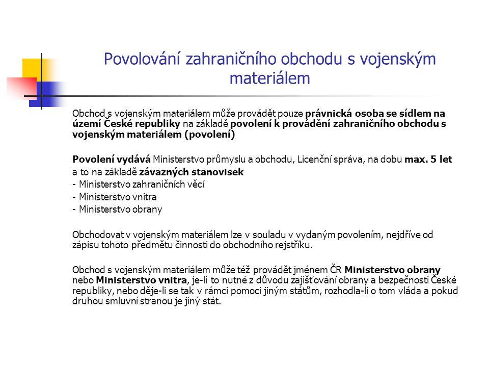 Povolování zahraničního obchodu s vojenským materiálem Obchod s vojenským materiálem může provádět pouze právnická osoba se sídlem na území České repu