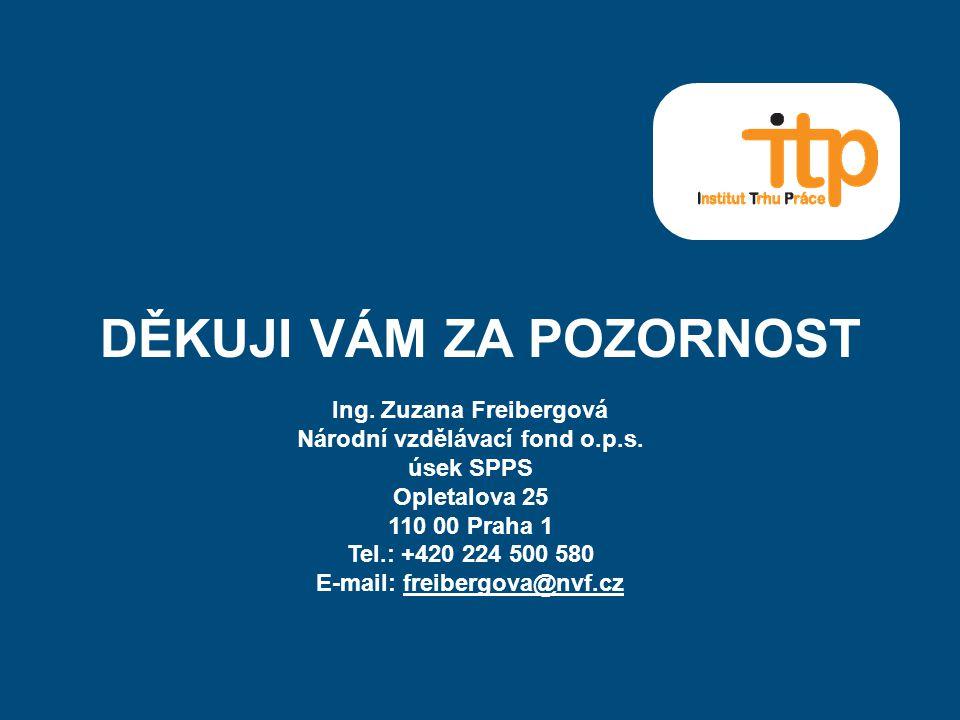 DĚKUJI VÁM ZA POZORNOST Ing. Zuzana Freibergová Národní vzdělávací fond o.p.s. úsek SPPS Opletalova 25 110 00 Praha 1 Tel.: +420 224 500 580 E-mail: f