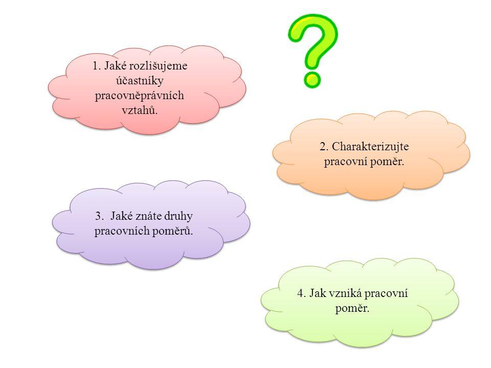 1. Jaké rozlišujeme účastníky pracovněprávních vztahů.