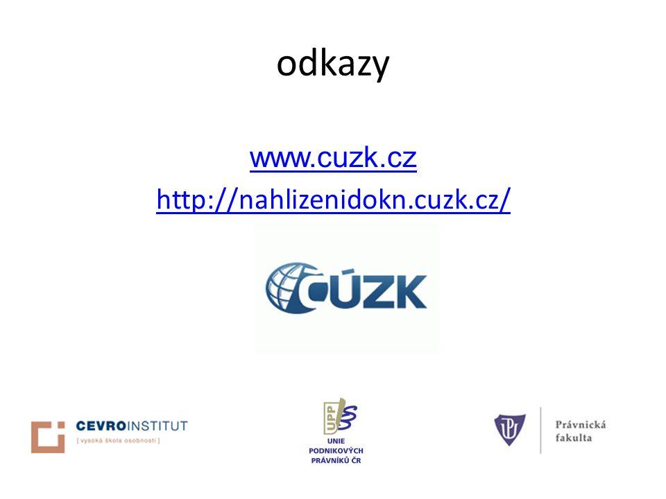odkazy www.cuzk.cz http://nahlizenidokn.cuzk.cz/