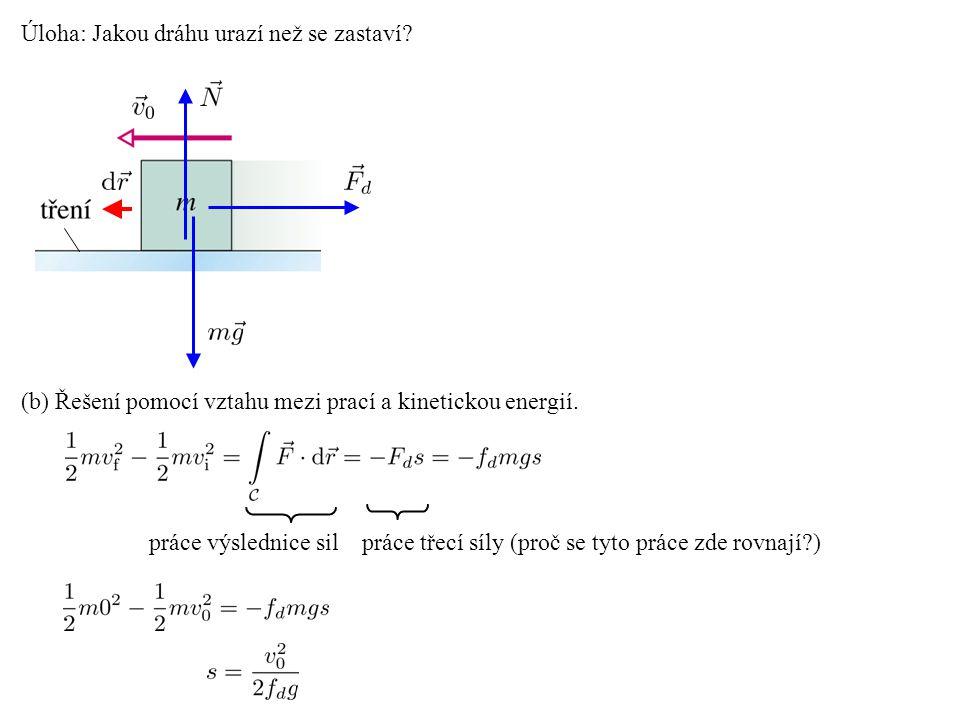 Úloha: Jakou dráhu urazí než se zastaví? (b) Řešení pomocí vztahu mezi prací a kinetickou energií. práce výslednice sil práce třecí síly (proč se tyto