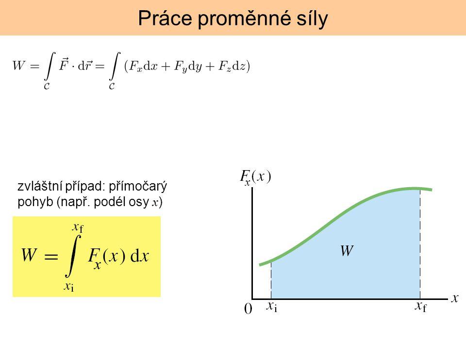 Práce proměnné síly zvláštní případ: přímočarý pohyb (např. podél osy x ) x x