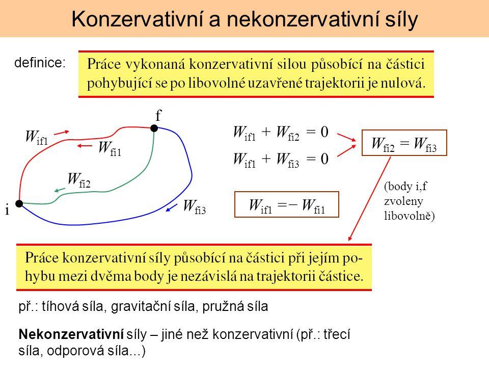 Konzervativní a nekonzervativní síly Nekonzervativní síly – jiné než konzervativní (př.: třecí síla, odporová síla...) př.: tíhová síla, gravitační sí