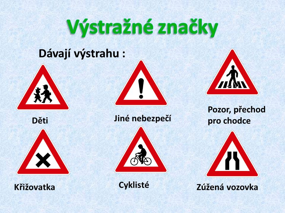 Dávají výstrahu : Děti Pozor, přechod pro chodce Jiné nebezpečí Křižovatka Cyklisté Zúžená vozovka