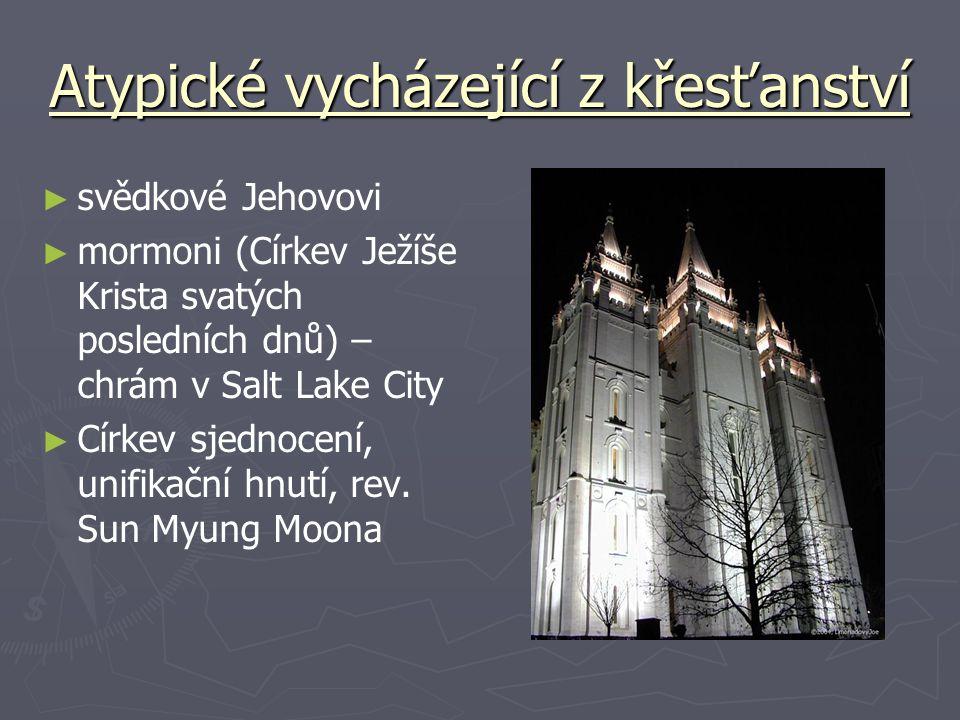 Atypické vycházející z křesťanství ► ► svědkové Jehovovi ► ► mormoni (Církev Ježíše Krista svatých posledních dnů) – chrám v Salt Lake City ► ► Církev sjednocení, unifikační hnutí, rev.