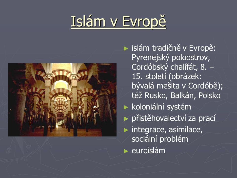 Islám v Evropě ► islám tradičně v Evropě: Pyrenejský poloostrov, Cordóbský chalífát, 8. – 15. století (obrázek: bývalá mešita v Cordóbě); též Rusko, B