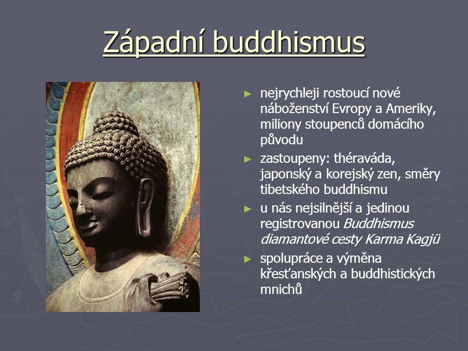 Západní buddhismus ► nejrychleji rostoucí nové náboženství Evropy a Ameriky, miliony stoupenců domácího původu ► zastoupeny: théraváda, japonský a korejský zen, směry tibetského buddhismu ► u nás nejsilnější a jedinou registrovanou Buddhismus diamantové cesty Karma Kagjü ► spolupráce a výměna křesťanských a buddhistických mnichů