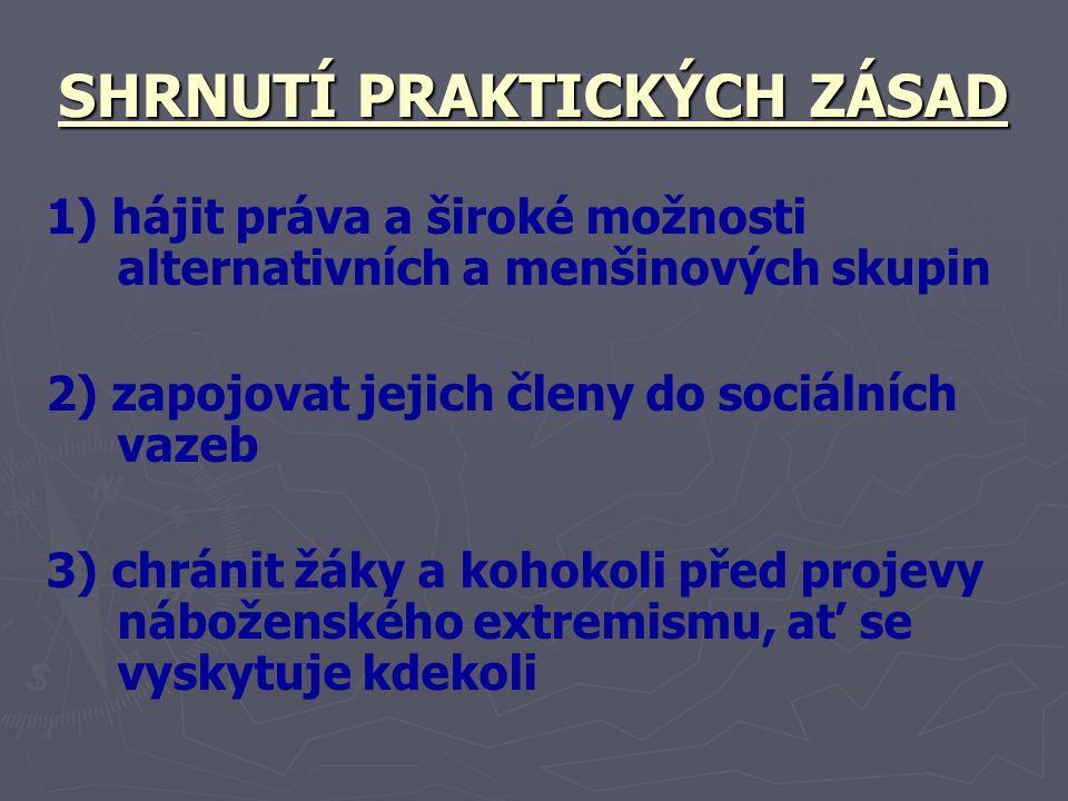 SHRNUTÍ PRAKTICKÝCH ZÁSAD 1) hájit práva a široké možnosti alternativních a menšinových skupin 2) zapojovat jejich členy do sociálních vazeb 3) chráni