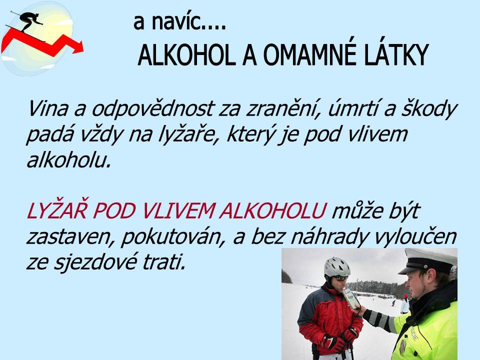 Vina a odpovědnost za zranění, úmrtí a škody padá vždy na lyžaře, který je pod vlivem alkoholu. LYŽAŘ POD VLIVEM ALKOHOLU může být zastaven, pokutován