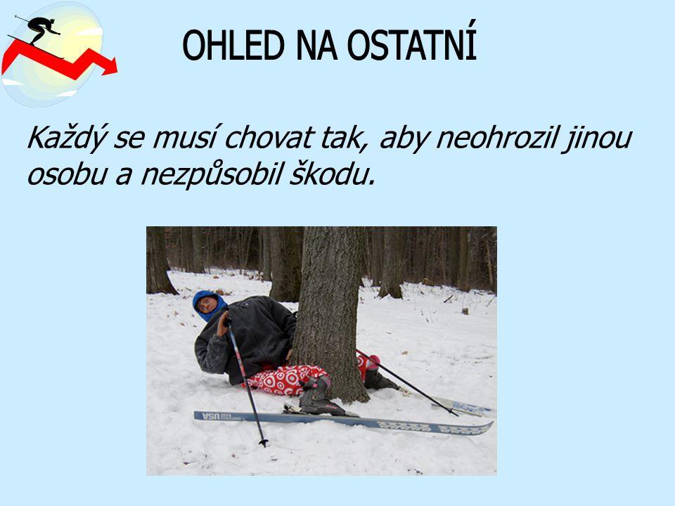Každý musí jet rychlostí a způsobem odpovídajícím jeho možnostem, podmínkám, počasí a počtu dalších lyžařů na sjezdovce.