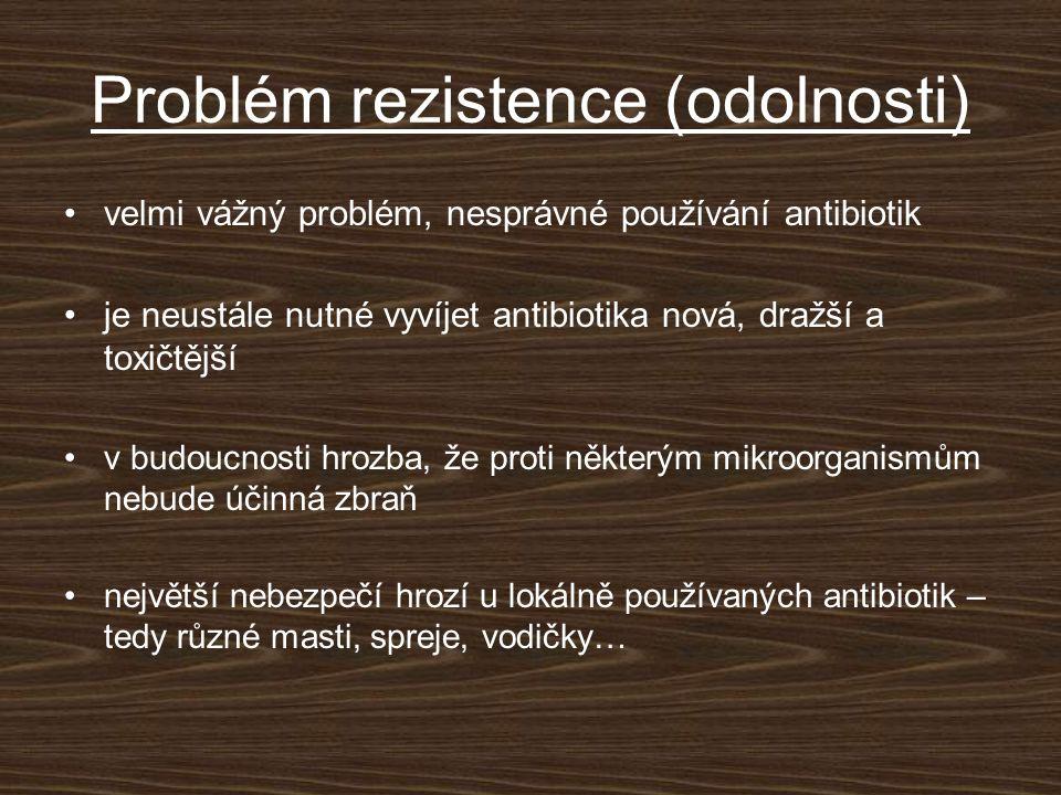 Problém rezistence (odolnosti) velmi vážný problém, nesprávné používání antibiotik je neustále nutné vyvíjet antibiotika nová, dražší a toxičtější v budoucnosti hrozba, že proti některým mikroorganismům nebude účinná zbraň největší nebezpečí hrozí u lokálně používaných antibiotik – tedy různé masti, spreje, vodičky…