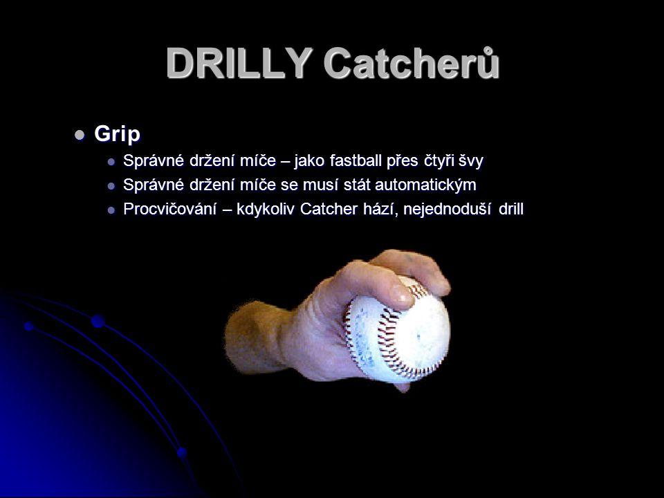 DRILLY Catcherů Grip Grip Správné držení míče – jako fastball přes čtyři švy Správné držení míče – jako fastball přes čtyři švy Správné držení míče se musí stát automatickým Správné držení míče se musí stát automatickým Procvičování – kdykoliv Catcher hází, nejednoduší drill Procvičování – kdykoliv Catcher hází, nejednoduší drill