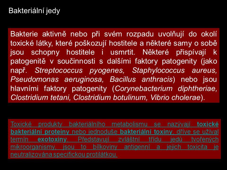 BakterieToxinOnemocnění Corynebacterium diphtheriaedifterický toxinzáškrt Clostridium tetanitetanotoxintetanus Clostridium botulinumbotulotoxin A - Fbotulismus Vibrio choleraecholeragencholera Escherichia coliEscherichia coli (enterotoxigenní)(enterotoxigenní)termolabilní a termostabilní enterotoxincestovatelské průjmy Escherichia coliEscherichia coli (enterohemoragické)(enterohemoragické)verotoxin 1 a 2 hemoragické průjmy, hemolyticko-uremický syndrom (HUS) Shigella dysenteriaeshigatoxindysenterie Clostridium perfringenstoxiny a (b, d, e, t, q)toxiny a (b, d, e, t, q), cytotoxický enterotoxin cytotoxický enterotoxin průjem, plynatá sněť Clostridium difficiletoxin A a Bpseudomembranózní colitis Staphylococcus aureus enterotoxin A - E otrava z potravin, zvracení a průjem epidermolytický toxinbulosní impetigo toxin a, b, k, dpyogenní infekce leukocidin toxin toxického šoku (TSST-1)syndrom toxického šoku Bacillus anthracisantraxový toxinantrax Bordetella pertussispertussový toxinpertuse Arcanobacterium haemolyticumtoxická D sfingomyelinázafaryngitis, pyogenní infekce Corynebacterium ulcerans toxická D sfingomyelinázafaryngitis difterický toxinfaryngitis, pyogenní infekce Pseudomonas aeruginosaA toxinsepse