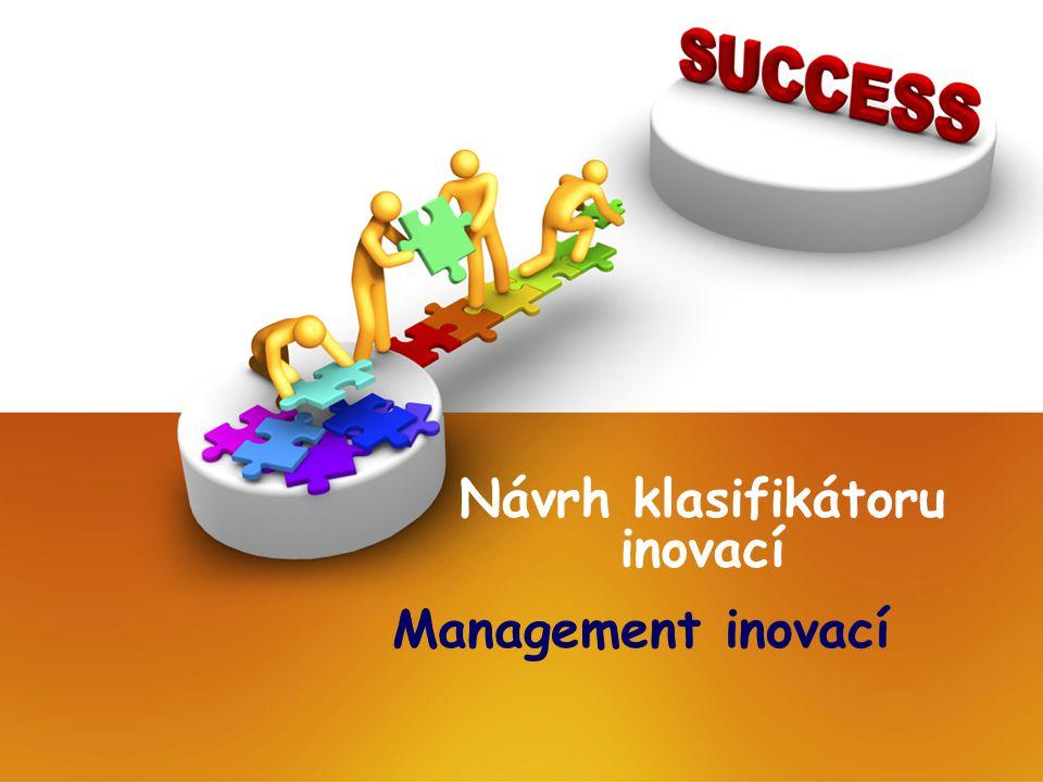 Návrh klasifikátoru inovací Management inovací