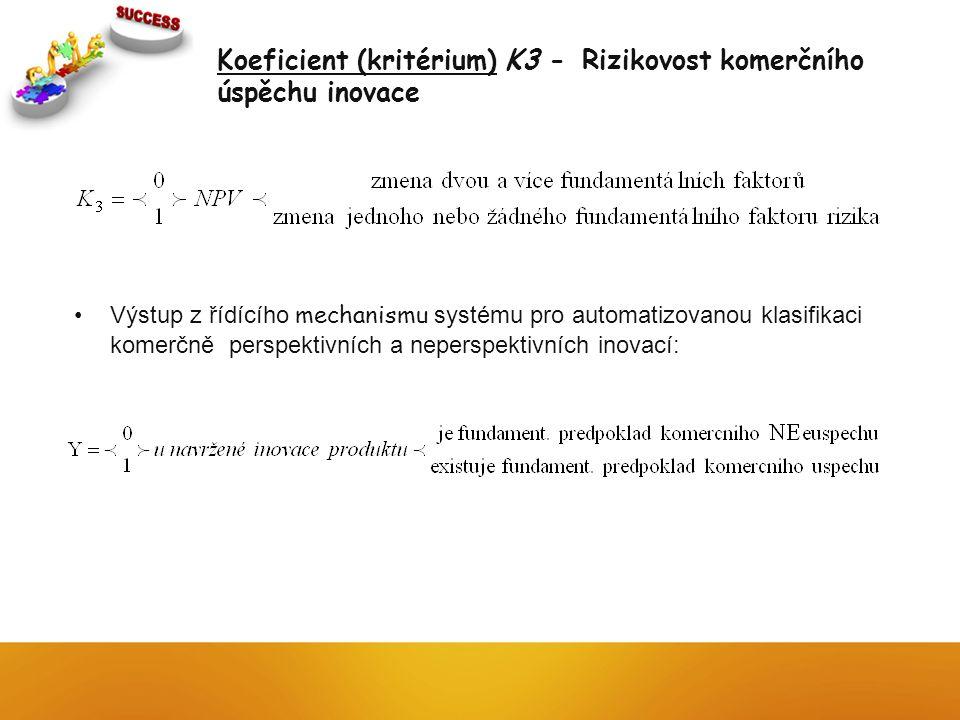 Koeficient (kritérium) K3 - Rizikovost komerčního úspěchu inovace Výstup z řídícího mechanismu systému pro automatizovanou klasifikaci komerčně perspe