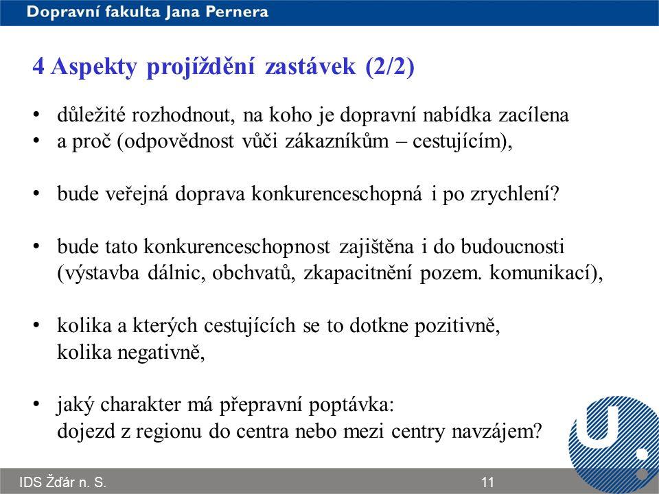 IDS Žďár n. S.11 4 Aspekty projíždění zastávek (2/2) důležité rozhodnout, na koho je dopravní nabídka zacílena a proč (odpovědnost vůči zákazníkům – c