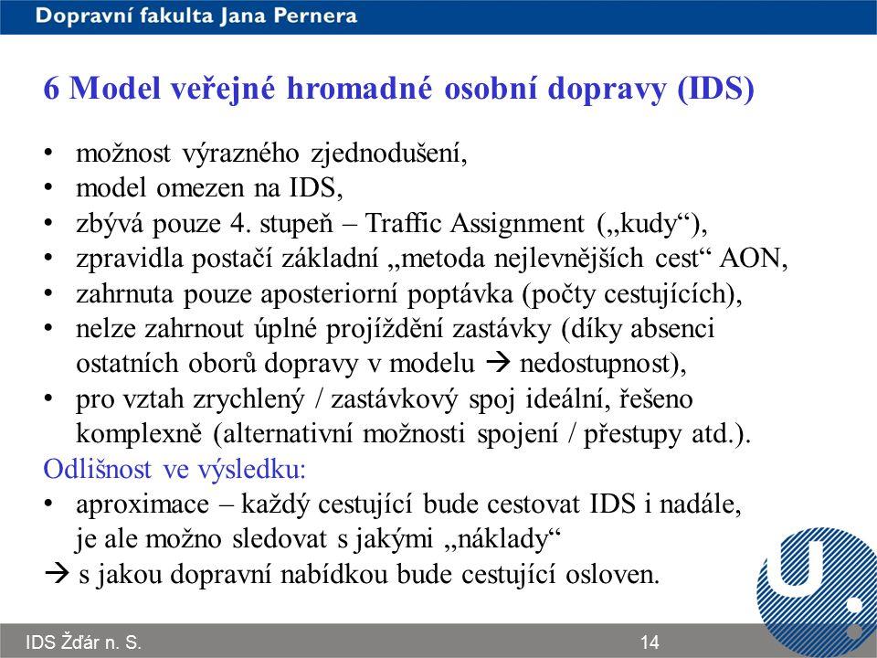 IDS Žďár n. S.14 6 Model veřejné hromadné osobní dopravy (IDS) možnost výrazného zjednodušení, model omezen na IDS, zbývá pouze 4. stupeň – Traffic As