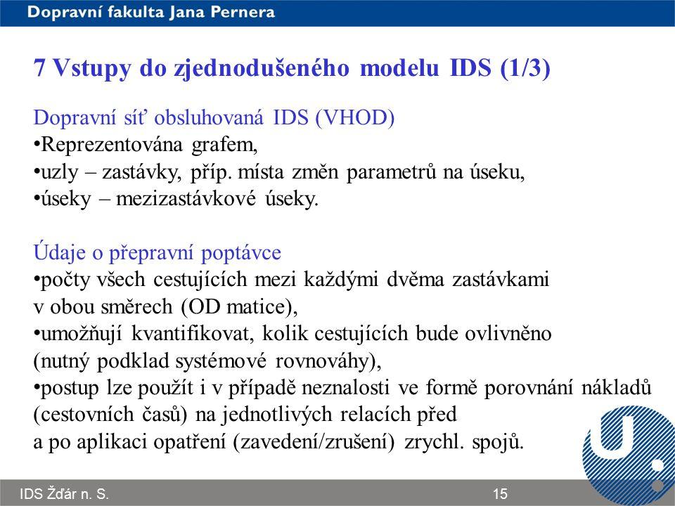 IDS Žďár n. S.15 7 Vstupy do zjednodušeného modelu IDS (1/3) Dopravní síť obsluhovaná IDS (VHOD) Reprezentována grafem, uzly – zastávky, příp. místa z