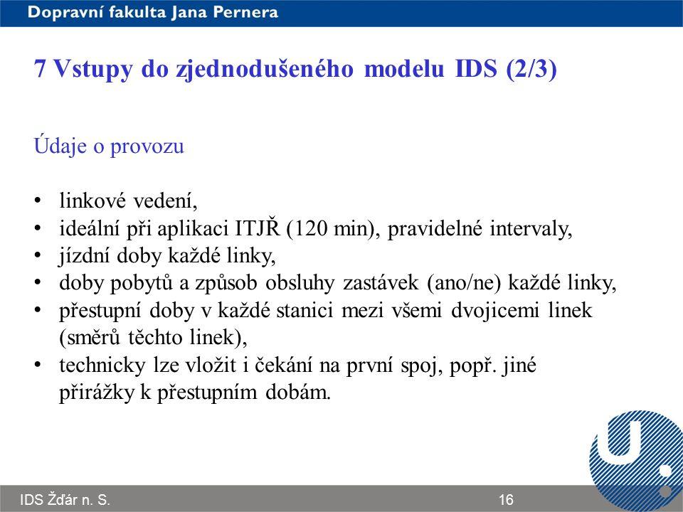 IDS Žďár n. S.16 7 Vstupy do zjednodušeného modelu IDS (2/3) Údaje o provozu linkové vedení, ideální při aplikaci ITJŘ (120 min), pravidelné intervaly