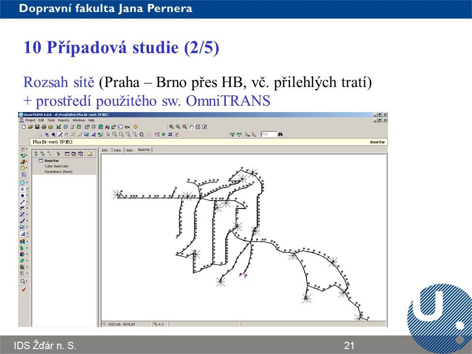 IDS Žďár n. S.21 10 Případová studie (2/5) Rozsah sítě (Praha – Brno přes HB, vč. přilehlých tratí) + prostředí použitého sw. OmniTRANS