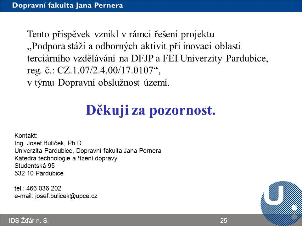 IDS Žďár n. S.25 Děkuji za pozornost. Kontakt: Ing. Josef Bulíček, Ph.D. Univerzita Pardubice, Dopravní fakulta Jana Pernera Katedra technologie a říz