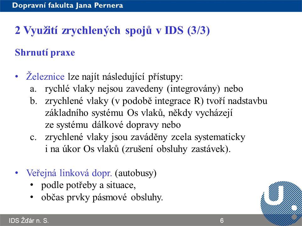 IDS Žďár n. S.6 2 Využití zrychlených spojů v IDS (3/3) Shrnutí praxe Železnice lze najít následující přístupy: a.rychlé vlaky nejsou zavedeny (integr