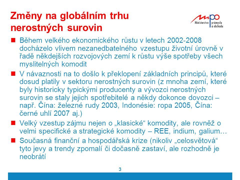 3 Změny na globálním trhu nerostných surovin Během velkého ekonomického růstu v letech 2002-2008 docházelo vlivem nezanedbatelného vzestupu životní úr