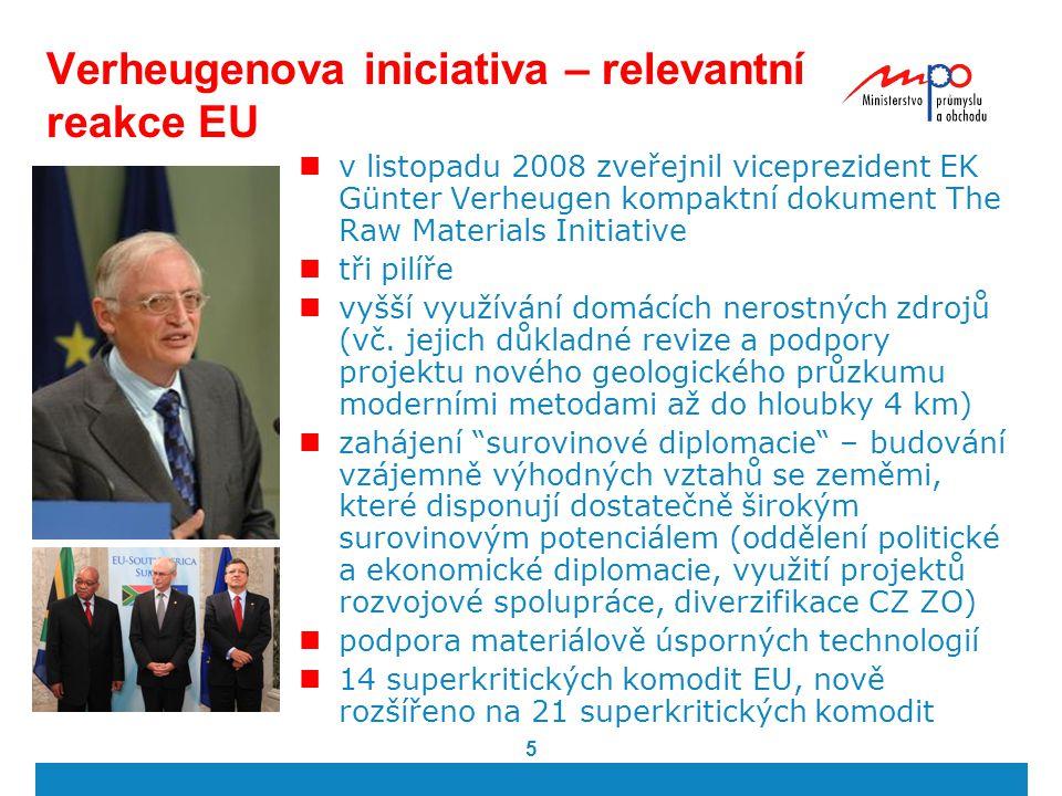 5 Verheugenova iniciativa – relevantní reakce EU v listopadu 2008 zveřejnil viceprezident EK Günter Verheugen kompaktní dokument The Raw Materials Ini