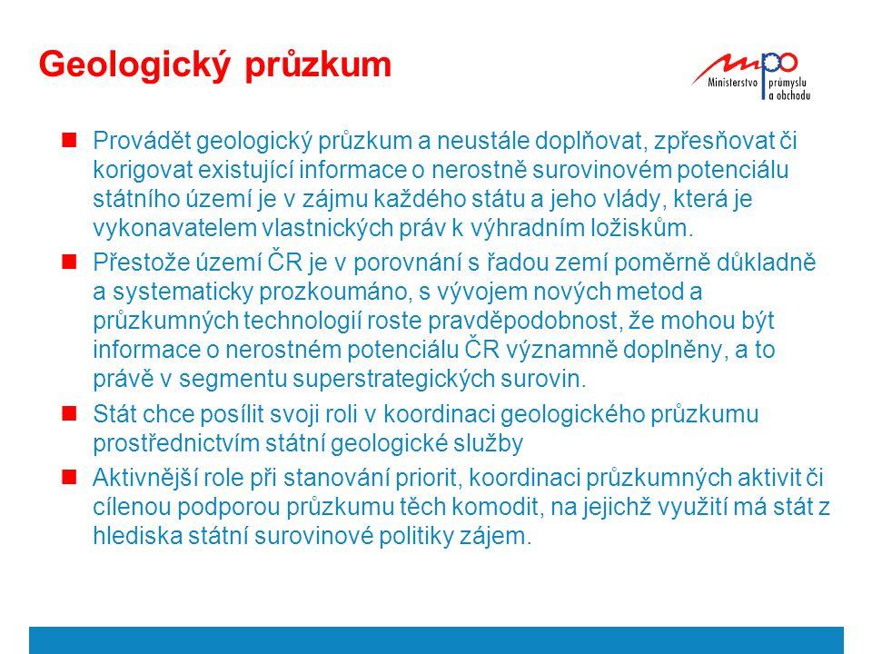 Geologický průzkum Provádět geologický průzkum a neustále doplňovat, zpřesňovat či korigovat existující informace o nerostně surovinovém potenciálu st