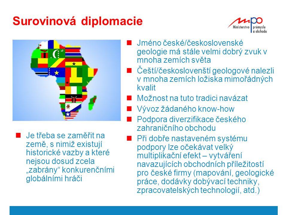 Surovinová diplomacie Jméno české/československé geologie má stále velmi dobrý zvuk v mnoha zemích světa Čeští/českoslovenští geologové nalezli v mnoh