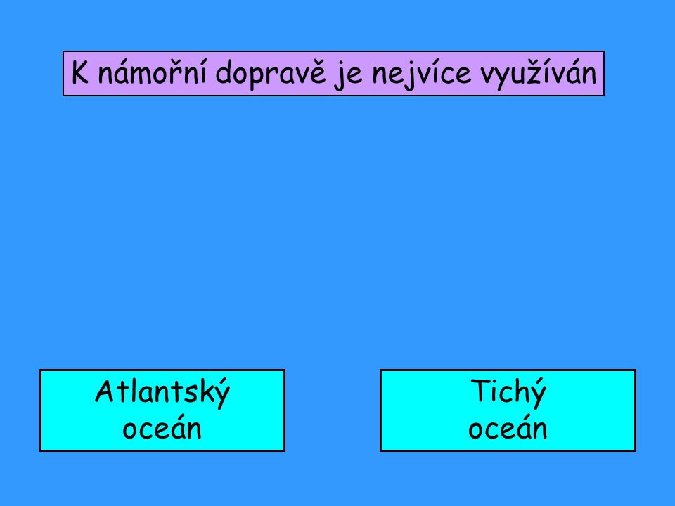 K námořní dopravě je nejvíce využíván Atlantský oceán Tichý oceán