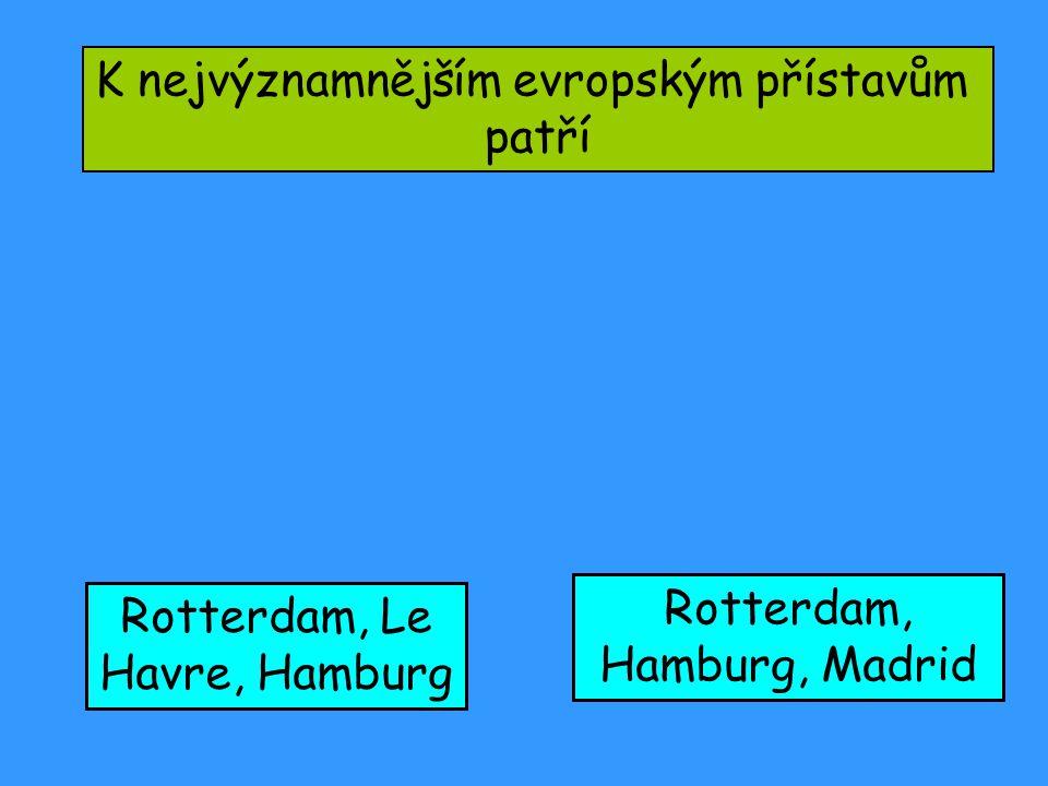 K nejvýznamnějším evropským přístavům patří Rotterdam, Le Havre, Hamburg Rotterdam, Hamburg, Madrid