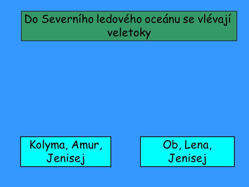 Do Severního ledového oceánu se vlévají veletoky Kolyma, Amur, Jenisej Ob, Lena, Jenisej