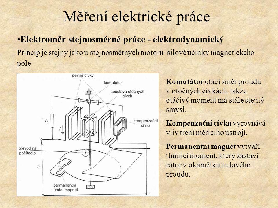 Elektroměr stejnosměrné práce - elektrodynamický Princip je stejný jako u stejnosměrných motorů- silové účinky magnetického pole. Měření elektrické pr