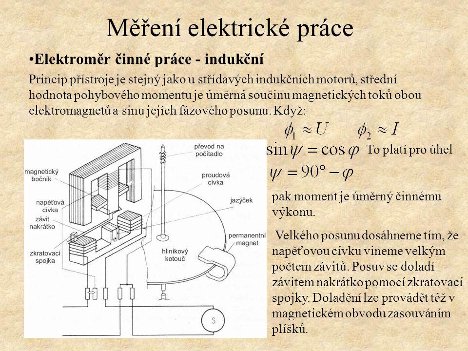 Elektroměr činné práce - indukční Princip přístroje je stejný jako u střídavých indukčních motorů, střední hodnota pohybového momentu je úměrná součin