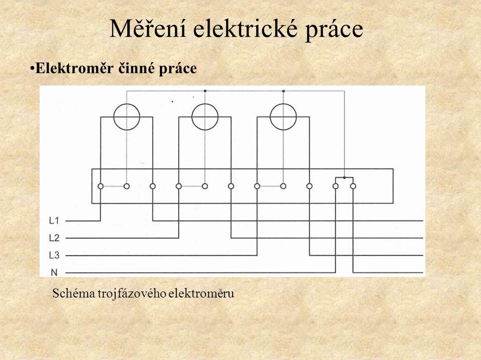 Elektroměr činné práce Schéma trojfázového elektroměru v Arónově zapojení pro měření v síti VN.