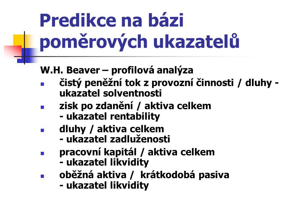Predikce na bázi poměrových ukazatelů W.H. Beaver – profilová analýza čistý peněžní tok z provozní činnosti / dluhy - ukazatel solventnosti zisk po zd