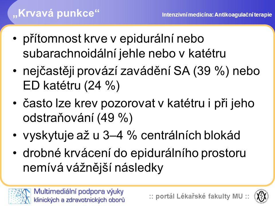 :: portál Lékařské fakulty MU :: Dávkování LMWH po operaci u pacienta s epidurálním katetrem doporučuje se nepřekračovat nejnižší účinnou dávku heparinu dokud je zaveden epidurální katétr, celková denní dávka by neměla překročit Clexan 40 mg, Fragmin 5000j, Fraxiparin 0,3ml Intenzivní medicína: Antikoagulační terapie