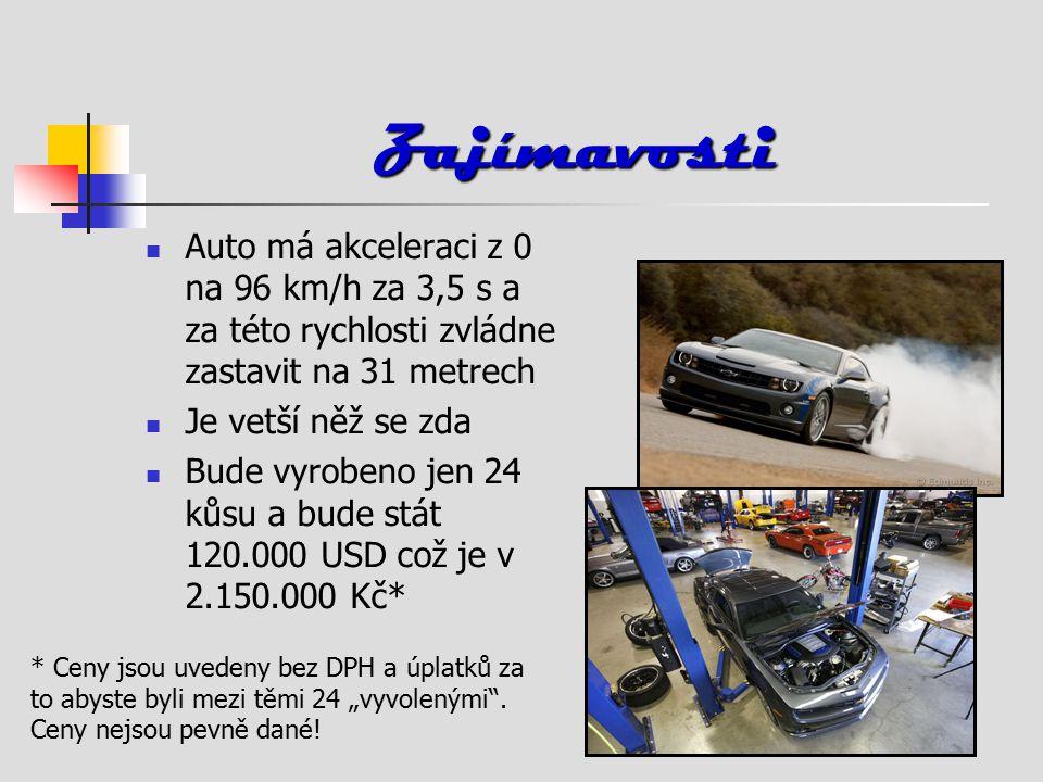 """Zajímavosti Auto má akceleraci z 0 na 96 km/h za 3,5 s a za této rychlosti zvládne zastavit na 31 metrech Je vetší něž se zda Bude vyrobeno jen 24 kůsu a bude stát 120.000 USD což je v 2.150.000 Kč* * Ceny jsou uvedeny bez DPH a úplatků za to abyste byli mezi těmi 24 """"vyvolenými ."""