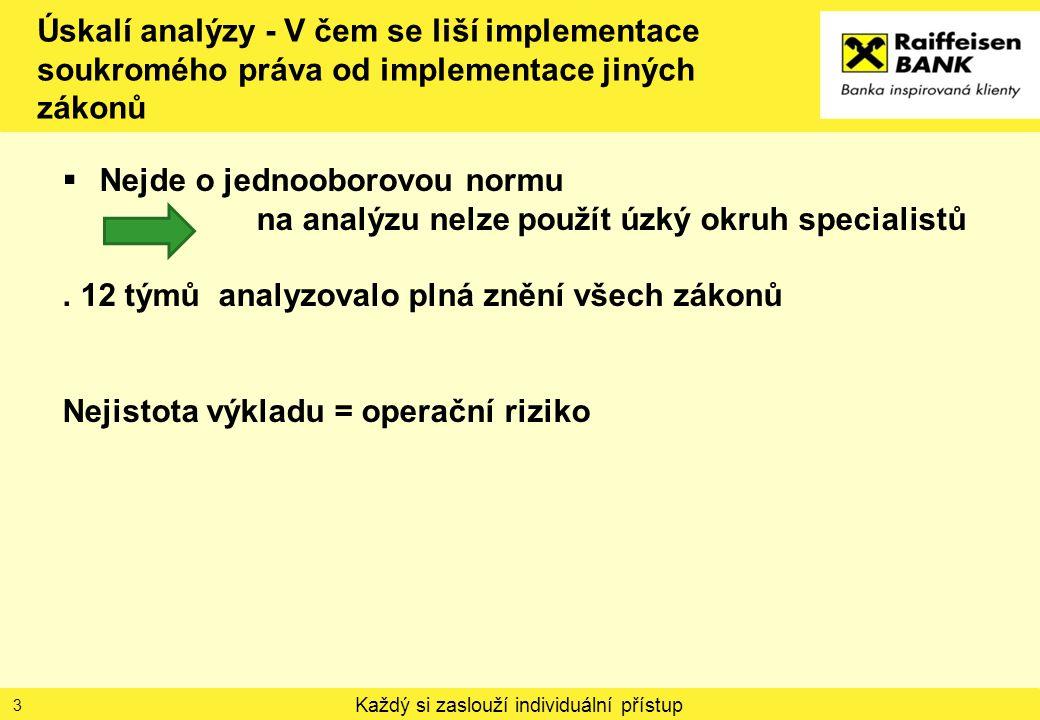 Každý si zaslouží individuální přístup Úskalí analýzy - V čem se liší implementace soukromého práva od implementace jiných zákonů  Nejde o jednooborovou normu na analýzu nelze použít úzký okruh specialistů.