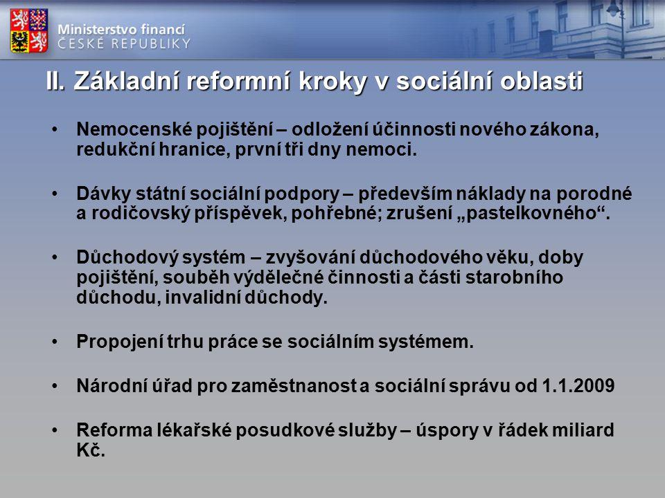 II. Základní reformní kroky v sociální oblasti Nemocenské pojištění – odložení účinnosti nového zákona, redukční hranice, první tři dny nemoci. Dávky