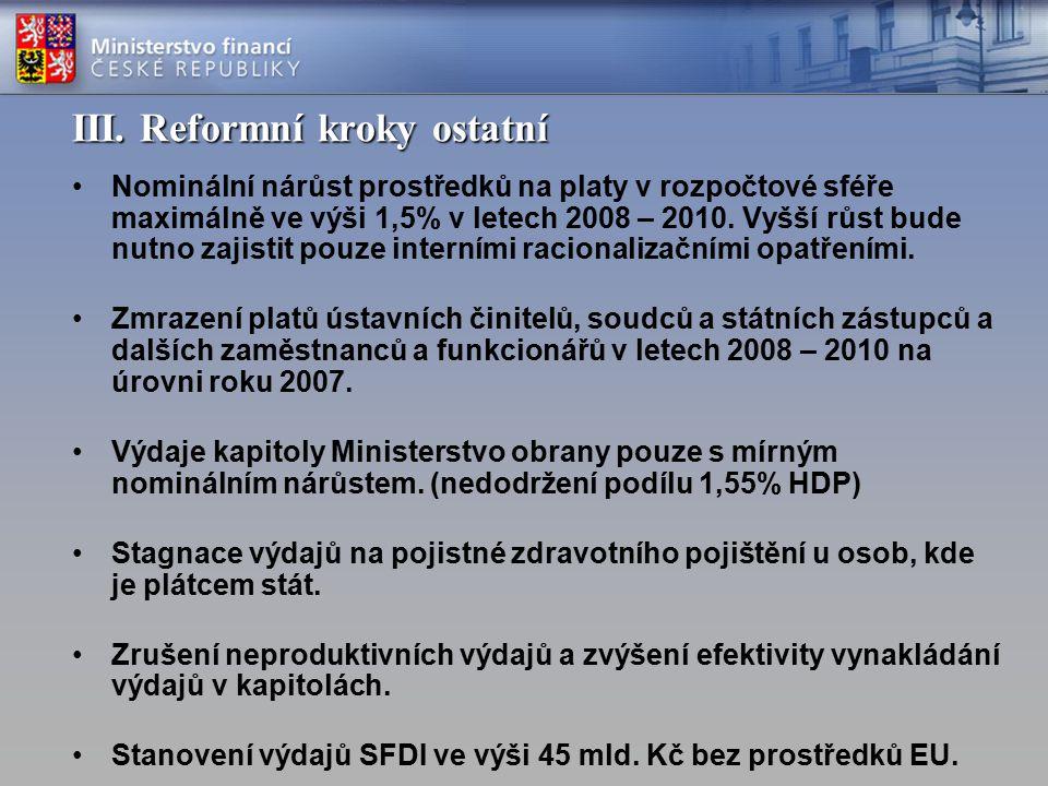 III. Reformní kroky ostatní Nominální nárůst prostředků na platy v rozpočtové sféře maximálně ve výši 1,5% v letech 2008 – 2010. Vyšší růst bude nutno