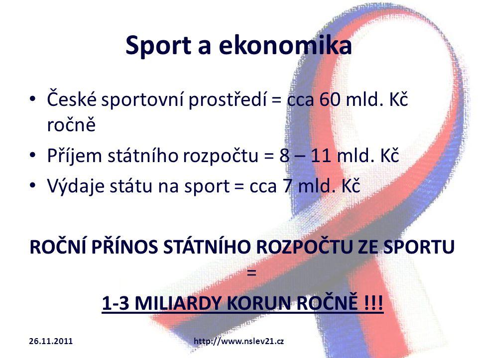 Sport a ekonomika České sportovní prostředí = cca 60 mld.