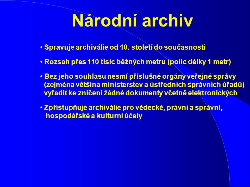 Spravuje archiválie od 10. století do současnosti Rozsah přes 110 tisíc běžných metrů (polic délky 1 metr) Bez jeho souhlasu nesmí příslušné orgány ve