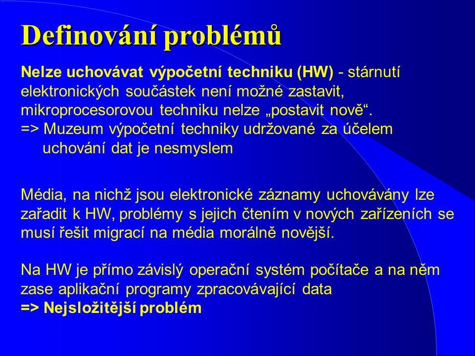 Definování problémů Nelze uchovávat výpočetní techniku (HW) - stárnutí elektronických součástek není možné zastavit, mikroprocesorovou techniku nelze